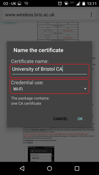 Android screenshot: Certificate