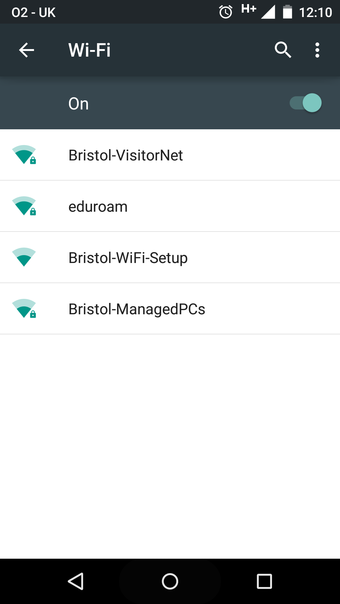 Android screenshot: List of Networks