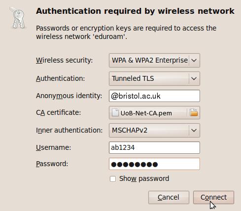 University of Bristol Wireless » Eduroam – Connect Ubuntu Linux